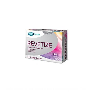 Revetize - Viên uống hỗ trợ mọc tóc và giảm rụng tóc giúp bạn cung cấp dưỡng chất cho mái tóc, hỗ trợ giảm rụng tóc đồng thời kích thích mọc tóc giúp bạn có mái tóc chắc khỏe và bóng đẹp