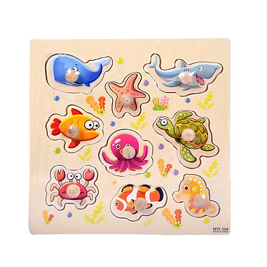 Gobestart 9 Piece Wooden Seabed animals Puzzle Jigsaw Early Learning Baby Kids Toys A
