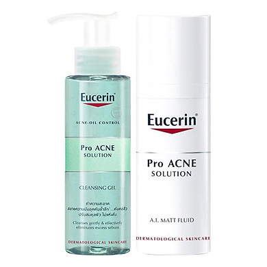 Bộ Gel Rửa Mặt Cho Da Dầu Mụn Eucerin ProAcne Solution Cleansing Gel (200ml) Và Kem Giúp Kiểm Soát Dầu Giảm Mụn Eucerin ProAcne Solution Mattifying Fluid (50ml)