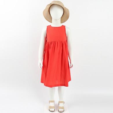 Đầm Bé Gái Vải Cotton In Caro Nổi - Nhập Khẩu Hàn Quốc