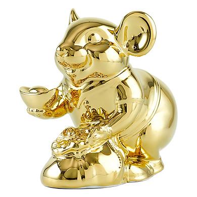 Chuột Phú Dát Vàng 24K Gốm Sứ Minh Long – Phiên Bản Đặc Biệt