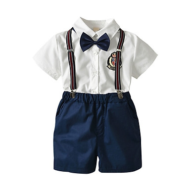 Summer Baby Boy Gentleman Clothes Set Bow Tie Shirt Strap Shorts Children 2Pcs Outfits