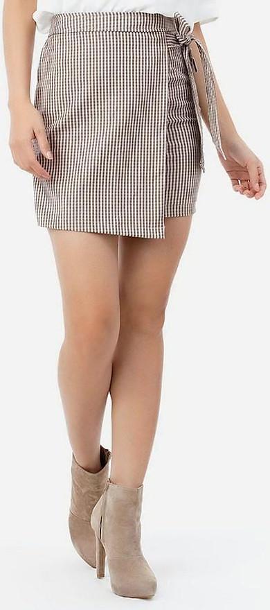 Chân Váy Nữ Chữ A Thắt Nơ Eo Citino CV18011501-01 - Caro Nâu