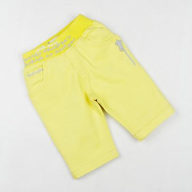Quần kaki co giãn lửng màu vàng thêu khoá kéo 2 túi lưng bo cho bé gái 0.5-7 tuổi từ 10 đến 22 kg 01986