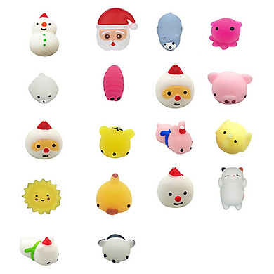 Gobestart 18PC Christmas Toys Mini Cute Squeeze Funny Toy Soft Stress Relief Toy DIY Decor