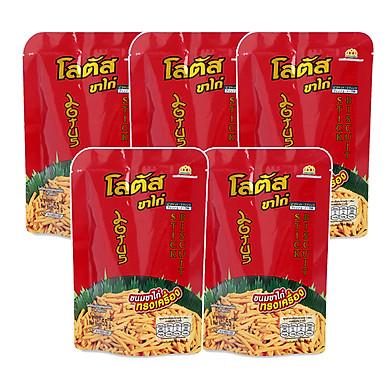 Lốc 5 Gói Lớn Bánh que Dorkbua Lotus vị Tôm Đỏ (55g/ gói)
