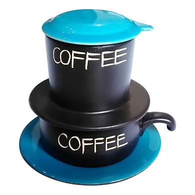 Bộ Quà Tặng Pin Tách Coffee - Gốm Sứ Bát Tràng - P08XD - Màu Xanh Dương