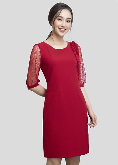 Đầm Suông Đỏ Phối Ren DT953