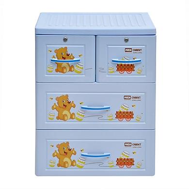 Tủ nhựa Panda 3 tầng 4 ngăn có khóa Song Long đựng quần áo- chọn màu, họa tiết ngẫu nghiên