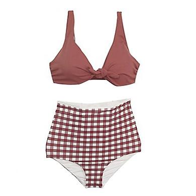 Bộ đồ bơi đi tắm biển nữ BIKINI 2 mảnh áo quần caro cạp cao cực HOT