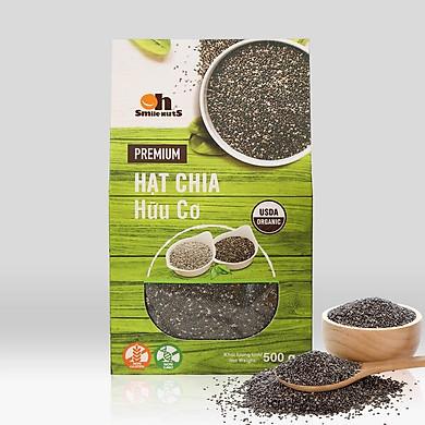 Hạt Chia Đen Hữu Cơ Smile Nuts Hộp 500g - Nhập khẩu từ Nam Mỹ (Hạt Chia sạch organic, cam kết chất lượng)