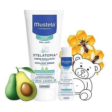 Mustela Kem Dưỡng Da Dành Cho Da Chàm Thể Trạng Stelatopia Emollient Cream 200ml Tặng Gentle Cleansing Gel 50ml