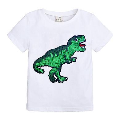 Fun Children Top Cartoon Sequin Baby Boys and Girls Short Sleeve T-shirt