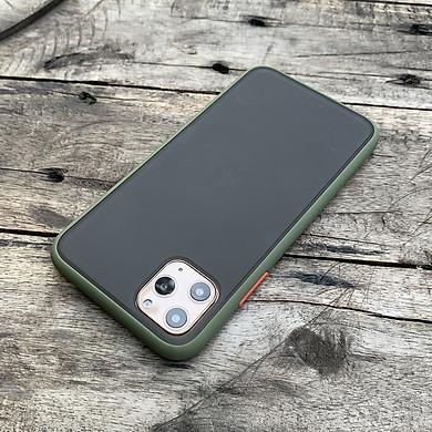 Ốp lưng chống sốc dành cho iPhone 11 Pro Max nút bấm màu cam - Màu xanh