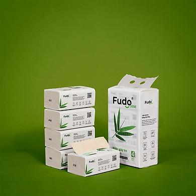 Khăn giấy tre Fudo - 4 gói giấy ăn(1 Túi): 100% bột tre, không tạo mùi, không tẩy trắng