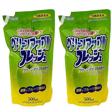 Combo 2 túi nước rửa chén hương táo loại túi 500 ml Rocket nội địa Nhật Bản