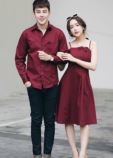 Bộ áo váy cặp đôi chụp cưới, đồ đôi nam nữ màu đỏ đô AV165