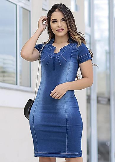Đầm Jean Nữ Ngắn Tay Cổ Lọ Siêu Việt T&T - SVTT3950