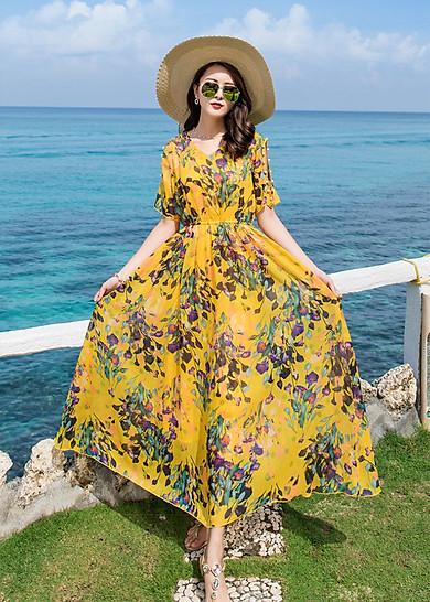 Đầm xòe maxi đi biển kiểu đầm xòe in hoa tay khoét đính hạt ROMI1662
