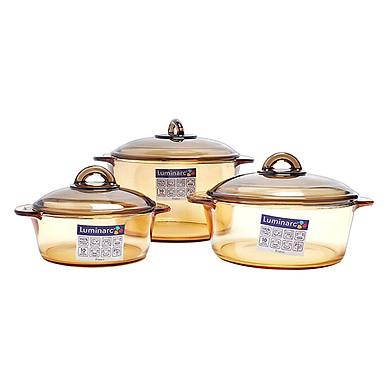 Bộ 3 Nồi Thủy Tinh Luminarc Amberline (Dung Tích 1L, 1.5L và 3L)