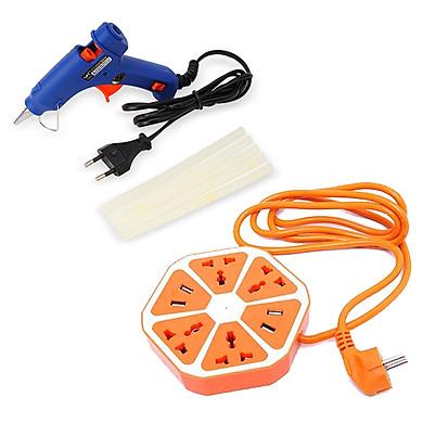 COMBO : Ổ cắm điện thông minh và  Súng bắn keo 20W + Tặng kèm 10 cây keo