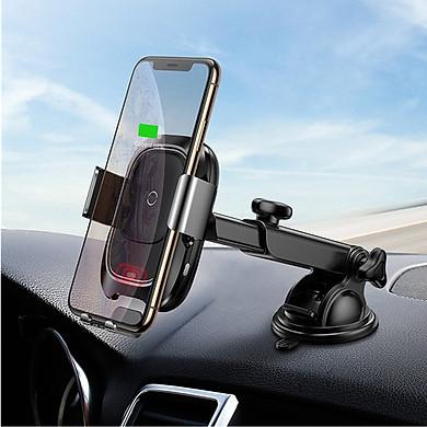 Giá đỡ kiêm Sạc không dây Qi thông minh trên xe hơi Baseus Vehicle 2 in 1 hỗ trợ sạc nhanh cho điện thoại smartPhone (chuẩn Qi, sạc thông minh,10W) - Hàng chính hãng