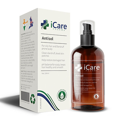 ANTISOL- Dầu gội Nấm Da Đầu,Ngăn Rụng Tóc Dược Liệu Thương Hiệu Dược iCare Pharma 240ml