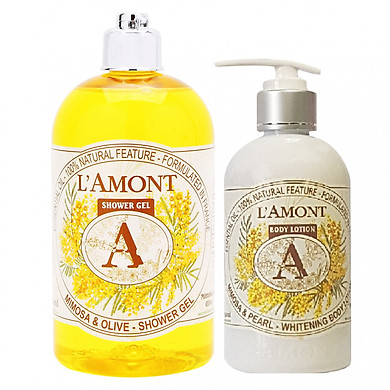Combo Sữa Tắm L'amont En Provence Mimosa (500ml) và Sữa Dưỡng Thể L'amont En Provence Mimosa Whitening Body Lotion (250ml)