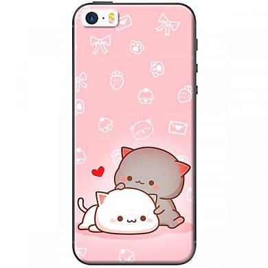 Ốp lưng dành cho điện thoại iPhone 5, iPhone 5S  Mẫu Mèo mập nền hồng