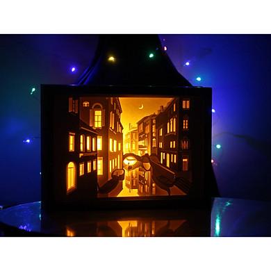 Đèn tranh 3D - Đêm Venice - thành phố tình yêu đẹp mê mẩn từ nghệ thuật cắt giấy Nhật Bản Kirugami