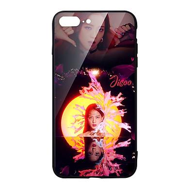 Ốp lưng KÍNH CƯỜNG LỰC VIỀN ĐEN cho iPhone 8 Plus KPOP_BLACKPINK_JISOO - Hàng chính hãng