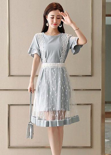 Đầm tay loe kiểu đầm dạo phố phối tùng lưới rời SANGCHANH1517