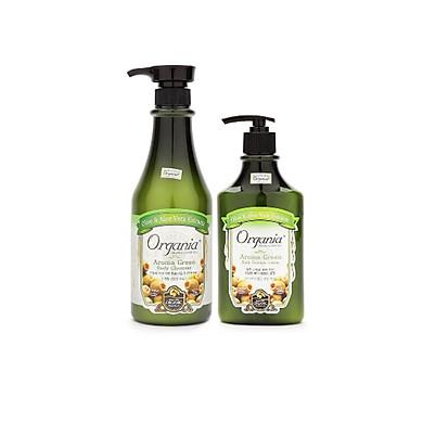 Combo Sữa tắm ORGANIA Aroma Green Body Cleanser 750g+ Sữa dưỡng thể từ tinh chất Aroma 400g