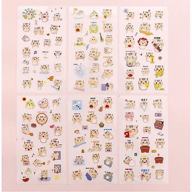 Bộ 6 Tấm Sticker Dán Trang Trí Mèo Dễ Thương