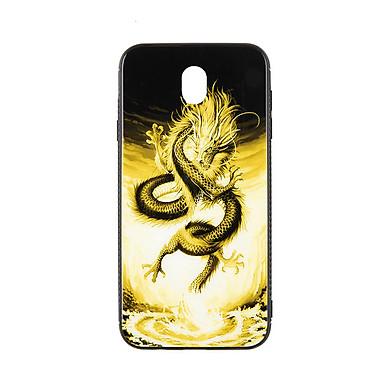 Ốp Lưng Dành Cho Samsung J7 Pro Rồng Vàng Phủ Kính 3D - Đen - Hàng Nhập Khẩu