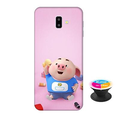 Ốp lưng nhựa dẻo dành cho Samsung J6 Plus in hình Heo Con Vui Chơi - Tặng Popsocket in logo iCase - Hàng Chính Hãng