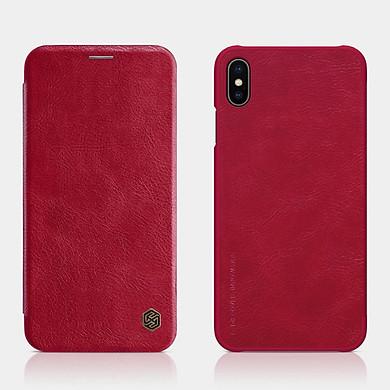 Bao Da Da Bò Cho iPhone X / iPhone XS hiệu Nillkin Qin Có Ngăn Đựng Thẻ - Đỏ - Hàng nhập khẩu