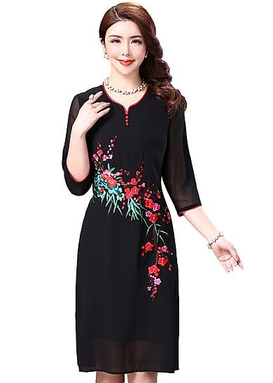 Đầm suông trung niên kiểu đầm suông voan tay lỡ thêu hoa anh đào SC0944