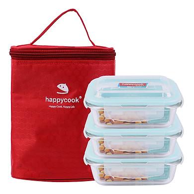 Bộ 3 hộp thủy tinh chữ nhật HappyCook 370ml Kèm Túi Giữ Nhiệt HCG-03RE