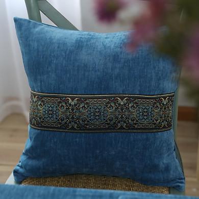 Vỏ gối vuông tựa lưng bằng vải cao cấp trang trí phong cách Châu Âu (45 x 45 cm)