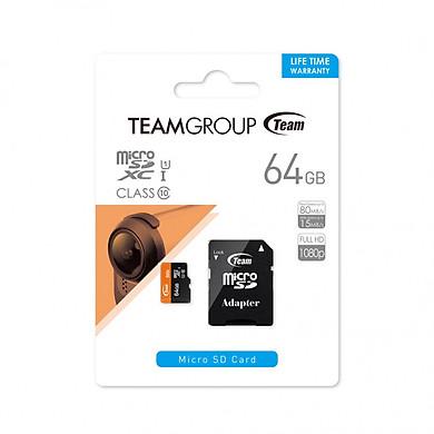 Thẻ nhớ microSDXC Team 64GB 500x upto 80MB/s class 10 UHS-I kèm Adapter (Đen cam) - Hàng chính hãng