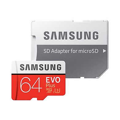 Thẻ Nhớ Micro SD Samsung Evo Plus 64GB U3 Class 10 - 100MB/s (Kèm Adapter) - Hàng Chính Hãng