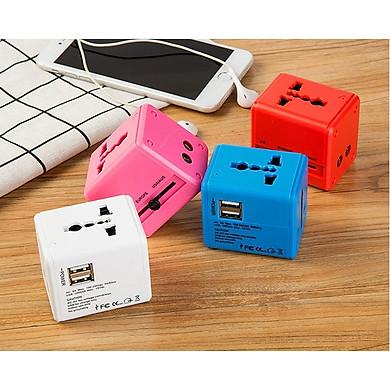 Ổ cắm điện du lịch quốc tế V2 màu ngẫu nhiên ( Tặng kèm 01 nút kẹp cao su giữ dây điện )