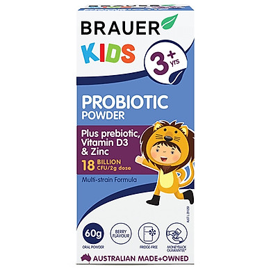Bột men vi sinh Brauer Kids Probiotic Powder cho trẻ trên 3 tuổi (60g)