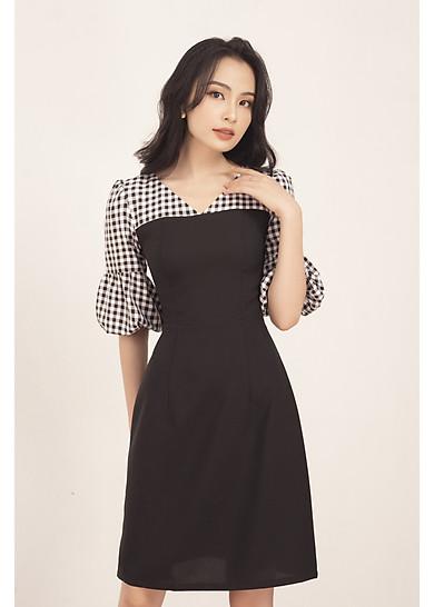 Đầm nữ xòe nữ thiết kế cao cấp tay phồng phối caro GUMAC DA568