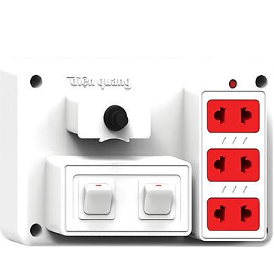 Bảng điện nổi V2 Điện Quang ĐQ FEP 32W 02S màu trắng, 3 lỗ 2 chấu, 2 công tắc