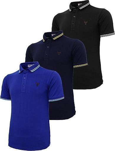 Bộ 3 áo thun nam cổ bẻ logo ép 3D chuẩn phong độ Pigofashion AHT16 đen, xanh đen, xanh bích