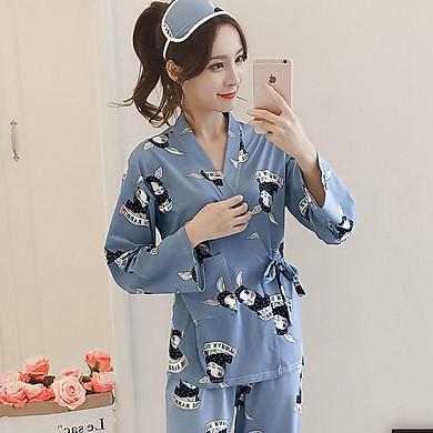 Bộ Đồ Mặc Nhà Nữ Áo Tay Dài Kiểu Kimono Và Quần Dài Họa Tiết Hoa (Size M)