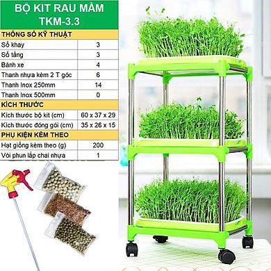 Bộ kit Khay trồng rau mầm thủy canh chuyên dụng, Khay, Giá đỡ, Vòi xịt, Hạt giống
