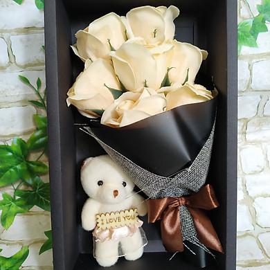 Hộp quà bó 7 bông hồng sáp vĩnh cửu kèm gấu